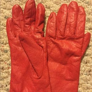 Vintage HANES Leather Sz S Red THINSULATE Gloves